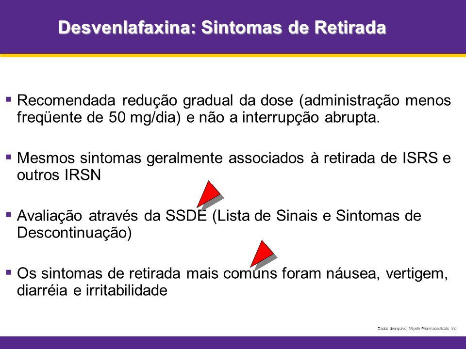 Desvenlafaxina: Sintomas de Retirada Recomendada redução gradual da dose (administração menos freqüente de 50 mg/dia) e não a interrupção abrupta. Mes