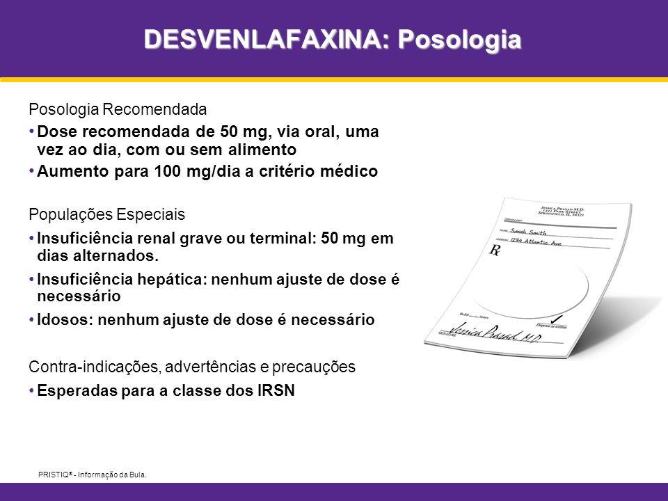 DESVENLAFAXINA: Posologia PRISTIQ ® - Informação da Bula. Posologia Recomendada Dose recomendada de 50 mg, via oral, uma vez ao dia, com ou sem alimen