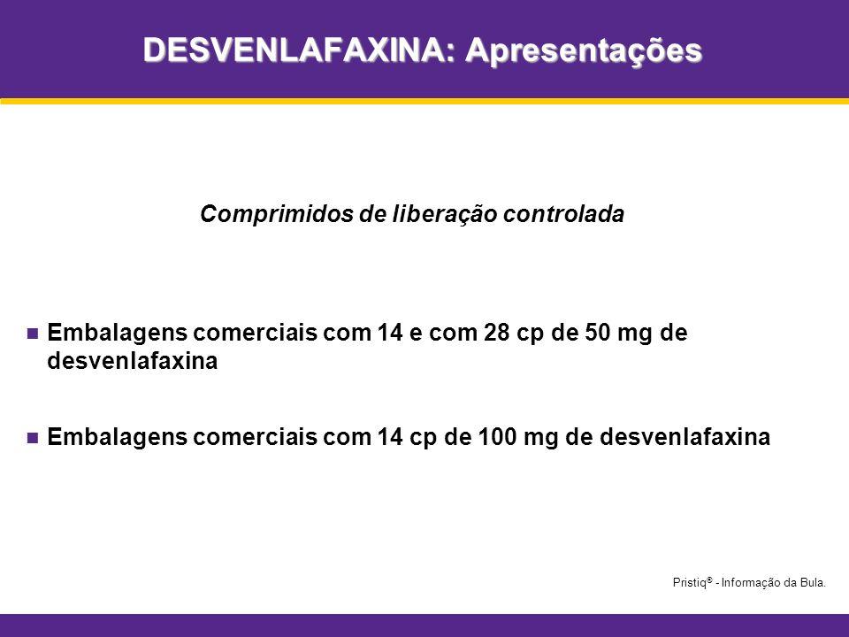 DESVENLAFAXINA: Apresentações Comprimidos de liberação controlada Embalagens comerciais com 14 e com 28 cp de 50 mg de desvenlafaxina Embalagens comer