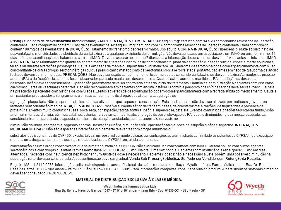 Pristiq (succinato de desvenlafaxina monoidratado) - APRESENTAÇÕES COMERCIAIS: Pristiq 50 mg: cartucho com 14 e 28 comprimidos revestidos de liberação