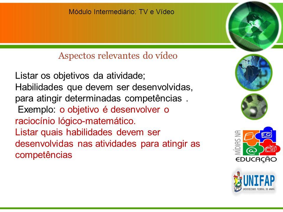 Módulo Intermediário: TV e Vídeo Listar os objetivos da atividade; Habilidades que devem ser desenvolvidas, para atingir determinadas competências. Ex