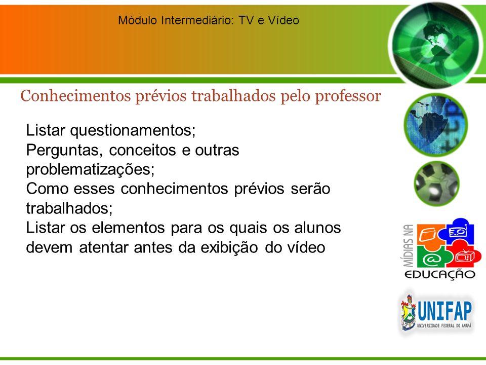 Módulo Intermediário: TV e Vídeo Listar questionamentos; Perguntas, conceitos e outras problematizações; Como esses conhecimentos prévios serão trabal