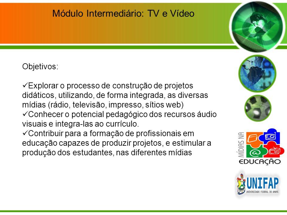 Objetivos: Explorar o processo de construção de projetos didáticos, utilizando, de forma integrada, as diversas mídias (rádio, televisão, impresso, sí
