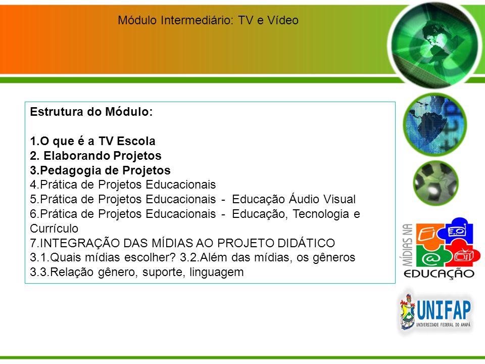 Módulo Intermediário: TV e Vídeo Estrutura do Módulo: 1.O que é a TV Escola 2. Elaborando Projetos 3.Pedagogia de Projetos 4.Prática de Projetos Educa