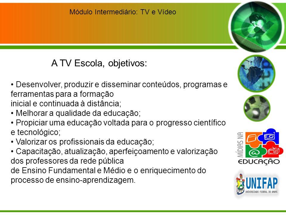 Módulo Intermediário: TV e Vídeo Desenvolver, produzir e disseminar conteúdos, programas e ferramentas para a formação inicial e continuada à distânci