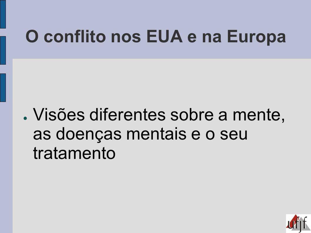 O conflito nos EUA e na Europa Visões diferentes sobre a mente, as doenças mentais e o seu tratamento