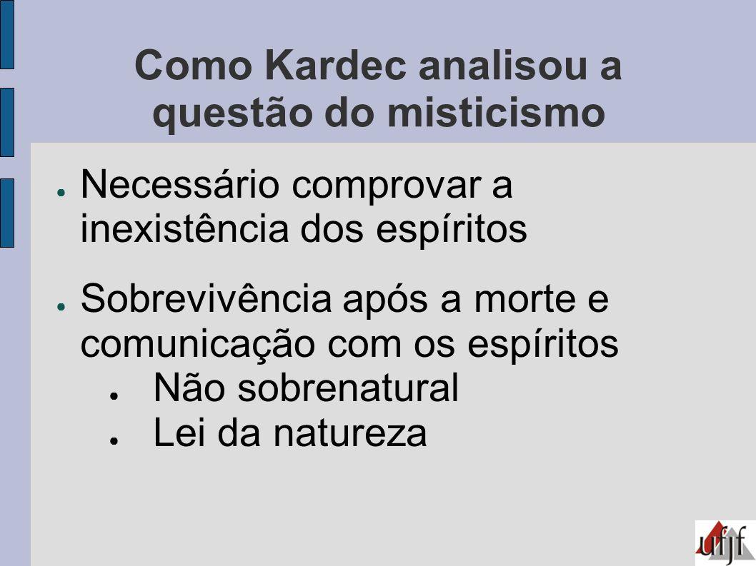 Como Kardec analisou a questão do misticismo Necessário comprovar a inexistência dos espíritos Sobrevivência após a morte e comunicação com os espírit