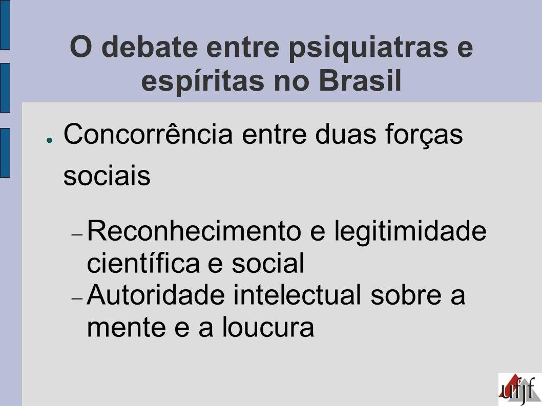 O debate entre psiquiatras e espíritas no Brasil Concorrência entre duas forças sociais Reconhecimento e legitimidade científica e social Autoridade i