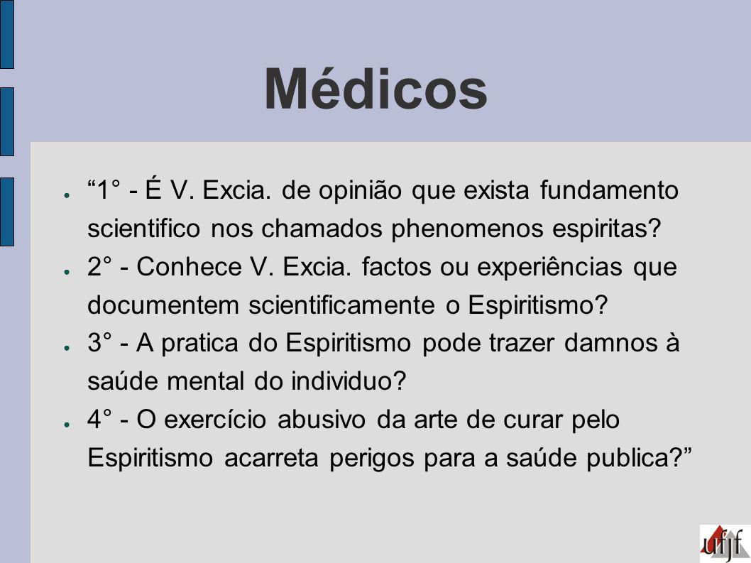 Médicos 1° - É V. Excia. de opinião que exista fundamento scientifico nos chamados phenomenos espiritas? 2° - Conhece V. Excia. factos ou experiências