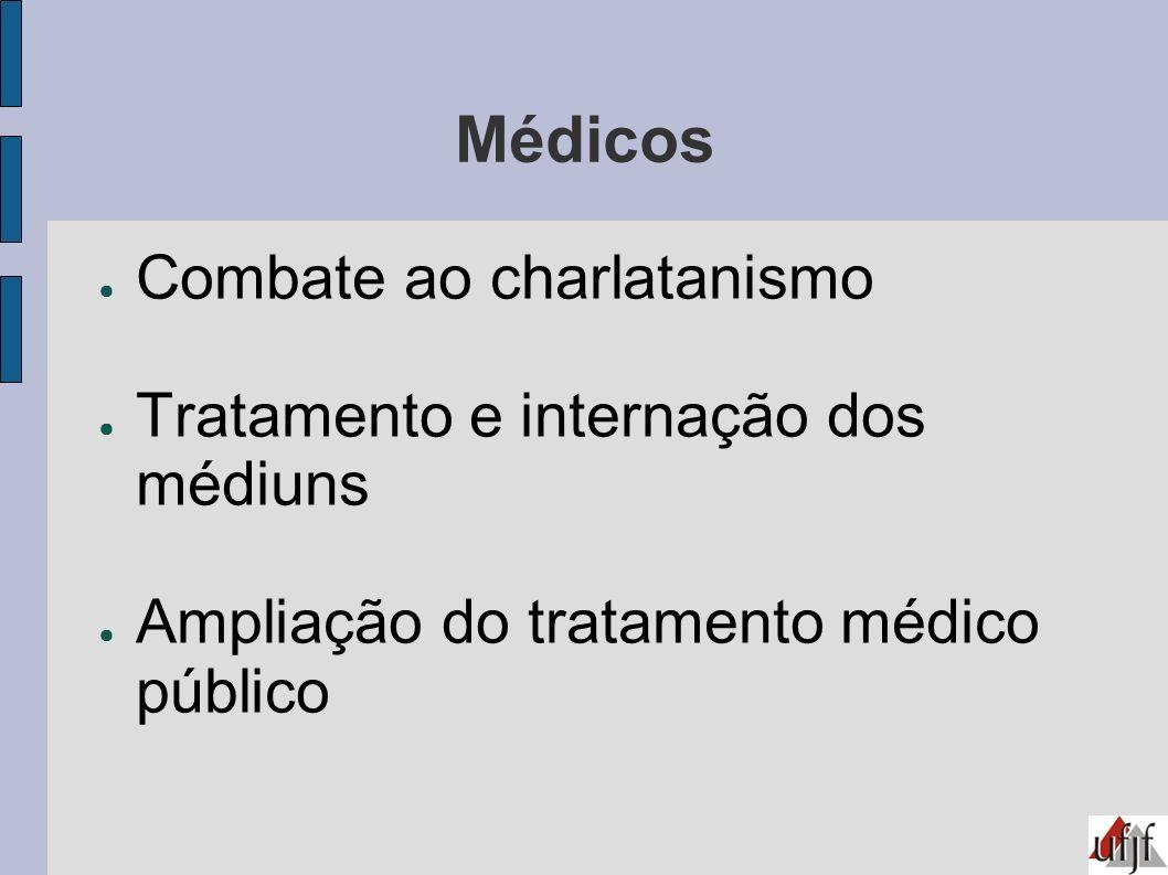 Médicos Combate ao charlatanismo Tratamento e internação dos médiuns Ampliação do tratamento médico público