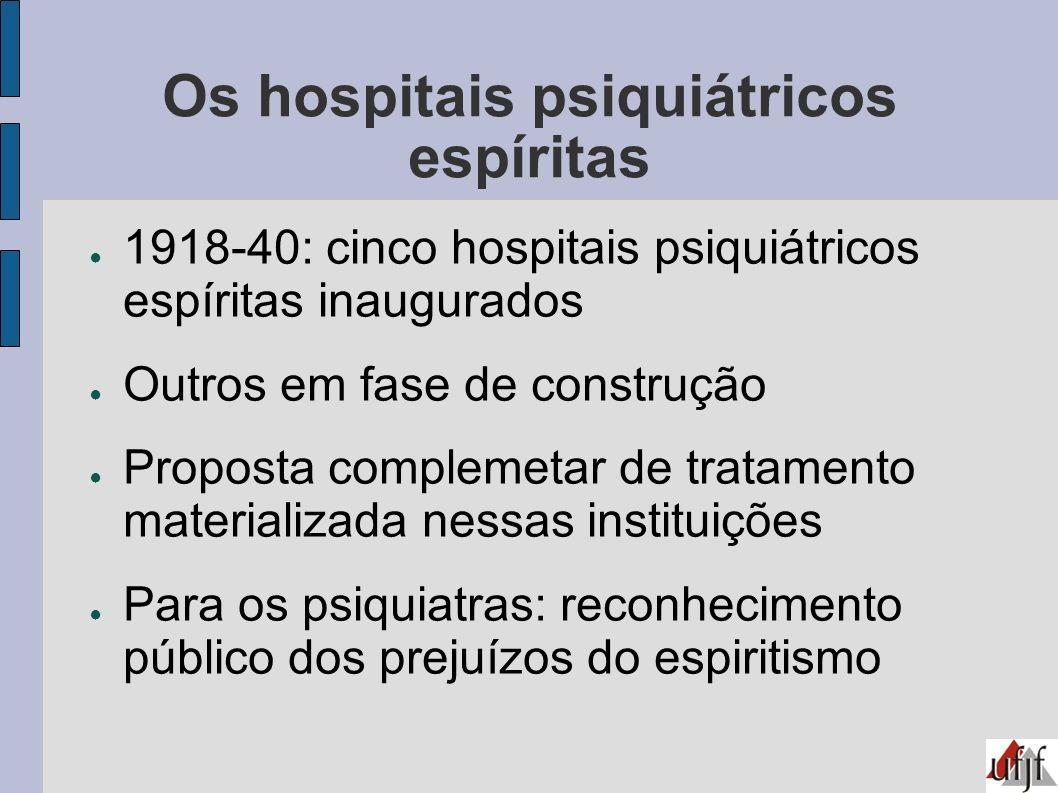 Os hospitais psiquiátricos espíritas 1918-40: cinco hospitais psiquiátricos espíritas inaugurados Outros em fase de construção Proposta complemetar de