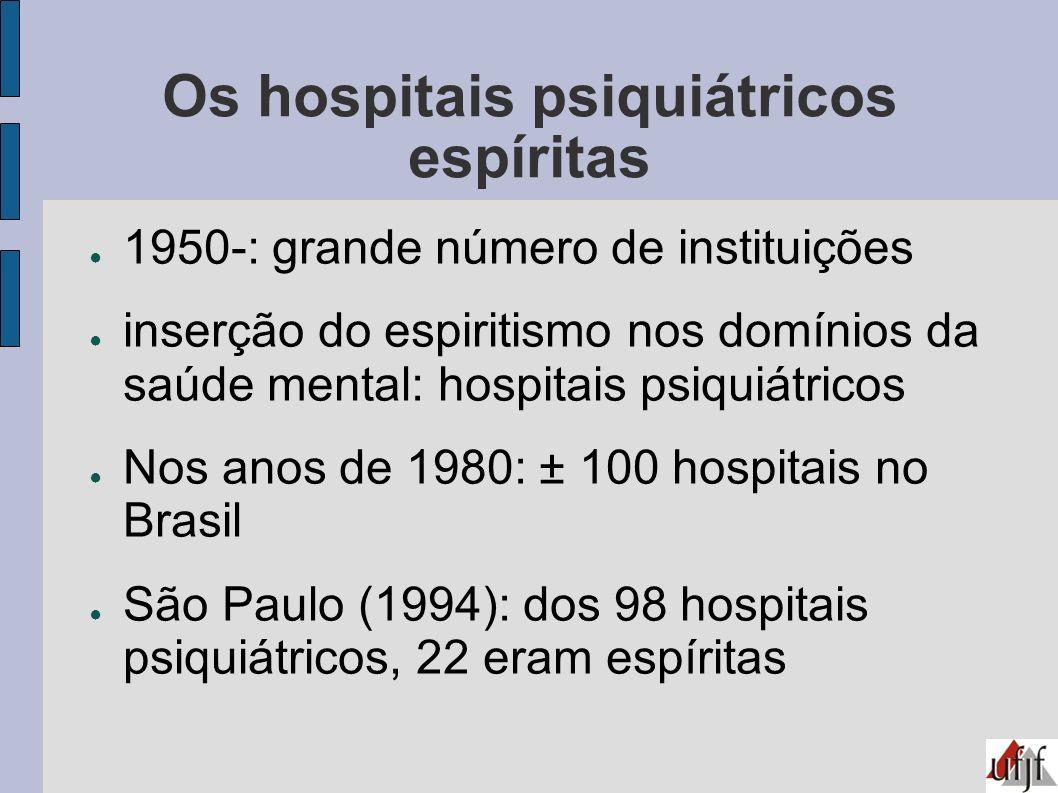 Os hospitais psiquiátricos espíritas 1950-: grande número de instituições inserção do espiritismo nos domínios da saúde mental: hospitais psiquiátrico