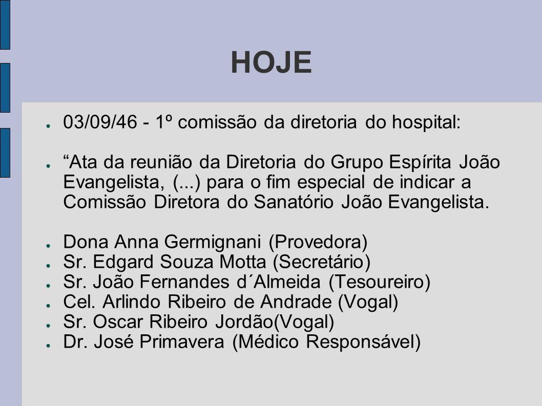 HOJE 03/09/46 - 1º comissão da diretoria do hospital: Ata da reunião da Diretoria do Grupo Espírita João Evangelista, (...) para o fim especial de ind