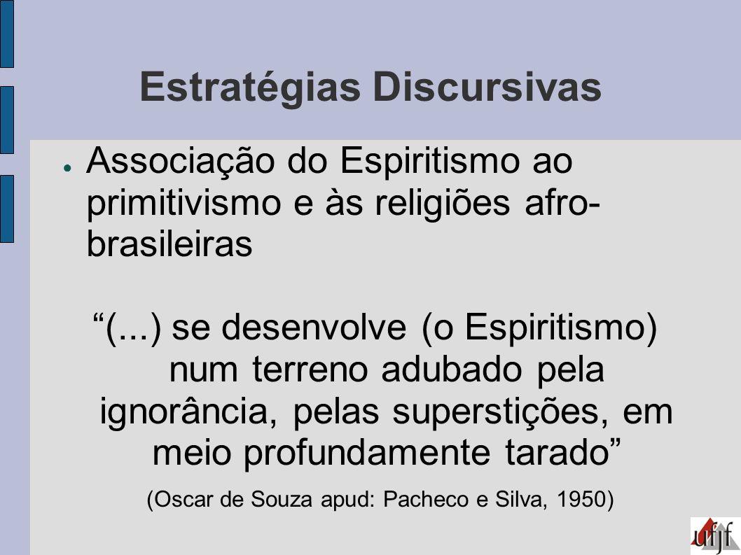 Estratégias Discursivas Associação do Espiritismo ao primitivismo e às religiões afro- brasileiras (...) se desenvolve (o Espiritismo) num terreno adu