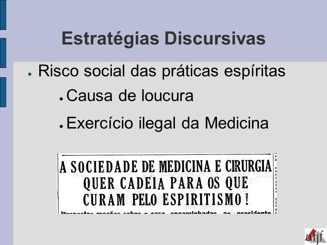 Estratégias Discursivas Risco social das práticas espíritas Causa de loucura Exercício ilegal da Medicina