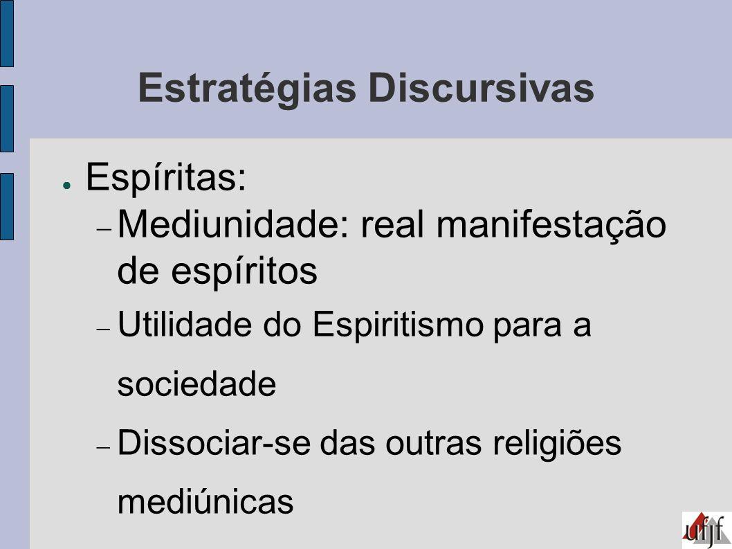 Estratégias Discursivas Espíritas: Mediunidade: real manifestação de espíritos Utilidade do Espiritismo para a sociedade Dissociar-se das outras relig