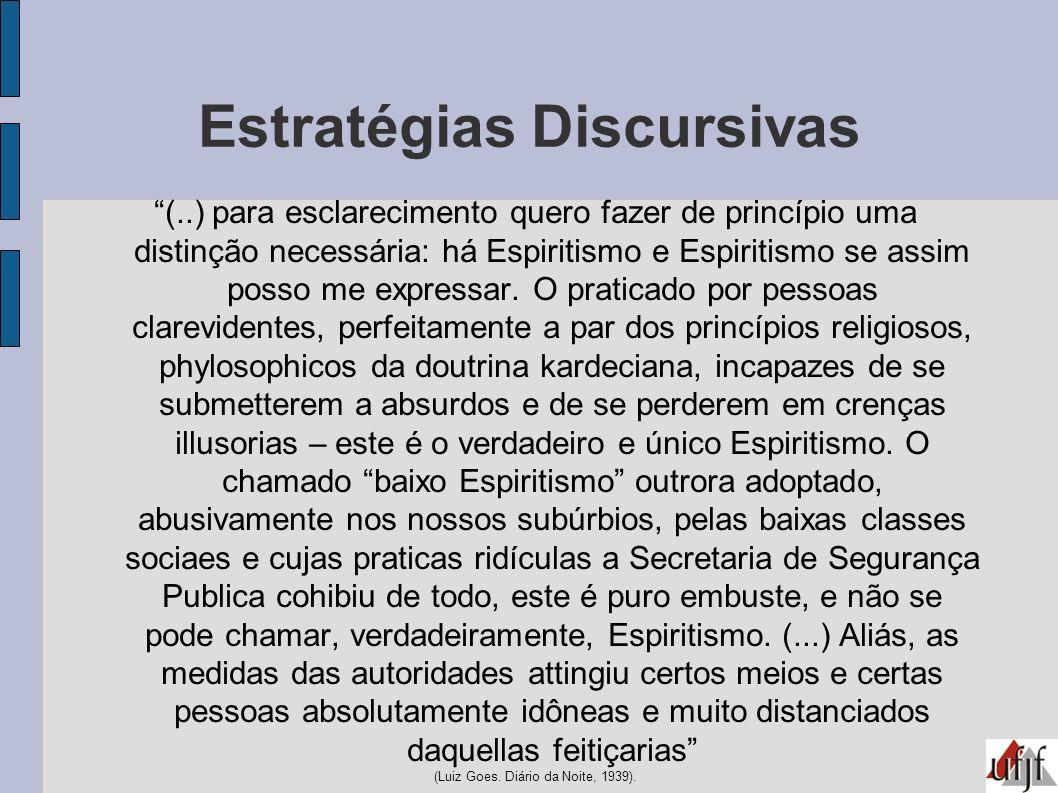 Estratégias Discursivas (..) para esclarecimento quero fazer de princípio uma distinção necessária: há Espiritismo e Espiritismo se assim posso me exp