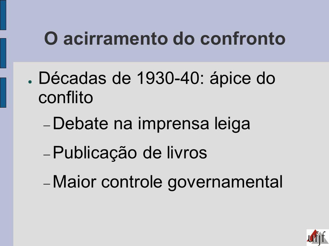 O acirramento do confronto Décadas de 1930-40: ápice do conflito Debate na imprensa leiga Publicação de livros Maior controle governamental