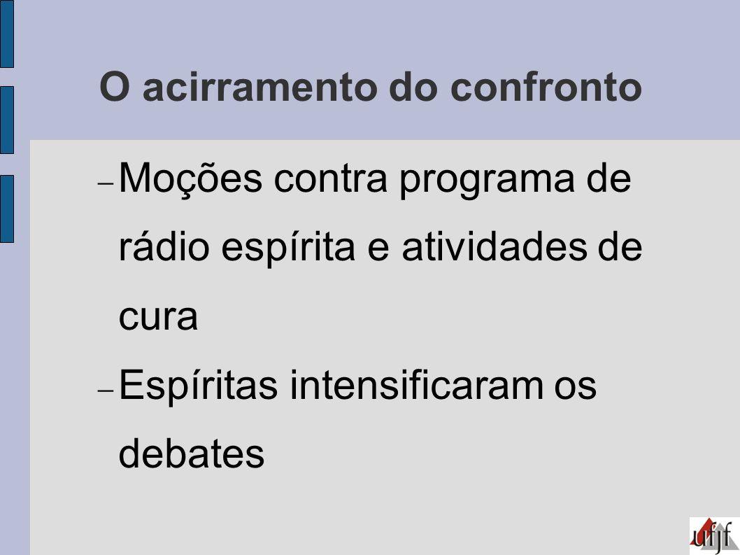 O acirramento do confronto Moções contra programa de rádio espírita e atividades de cura Espíritas intensificaram os debates