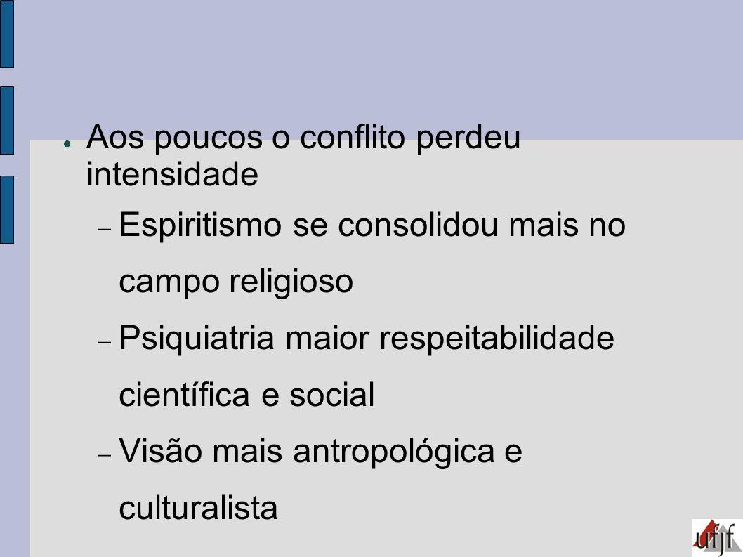 Aos poucos o conflito perdeu intensidade Espiritismo se consolidou mais no campo religioso Psiquiatria maior respeitabilidade científica e social Visã