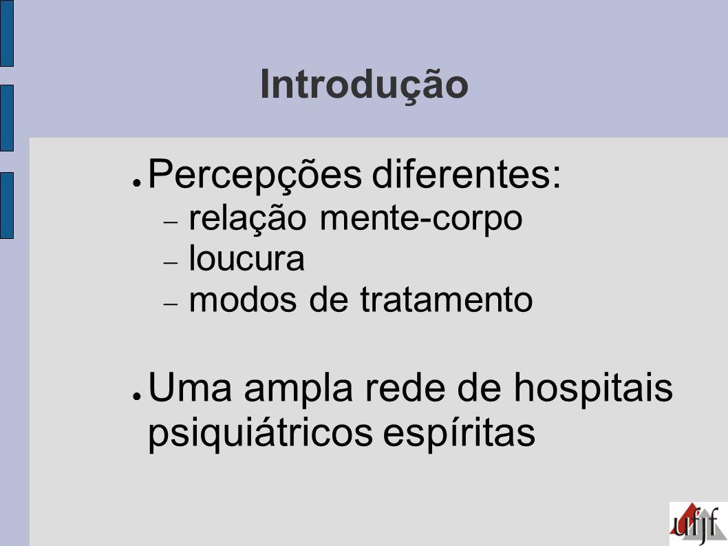 Os hospitais psiquiátricos espíritas 1950-: grande número de instituições inserção do espiritismo nos domínios da saúde mental: hospitais psiquiátricos Nos anos de 1980: ± 100 hospitais no Brasil São Paulo (1994): dos 98 hospitais psiquiátricos, 22 eram espíritas
