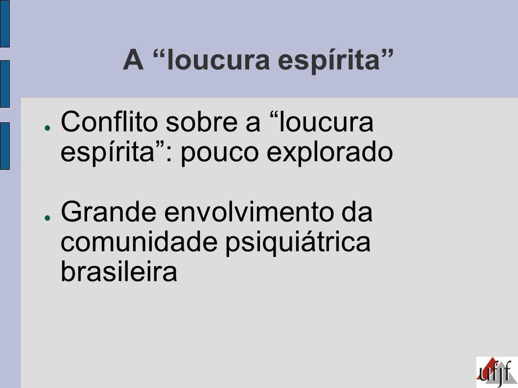 A loucura espírita Conflito sobre a loucura espírita: pouco explorado Grande envolvimento da comunidade psiquiátrica brasileira