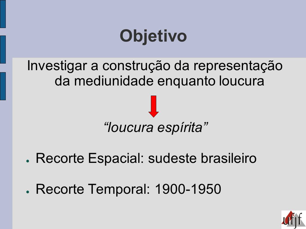 Objetivo Investigar a construção da representação da mediunidade enquanto loucura loucura espírita Recorte Espacial: sudeste brasileiro Recorte Tempor