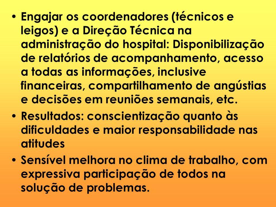 Engajar os coordenadores (técnicos e leigos) e a Direção Técnica na administração do hospital: Disponibilização de relatórios de acompanhamento, acess