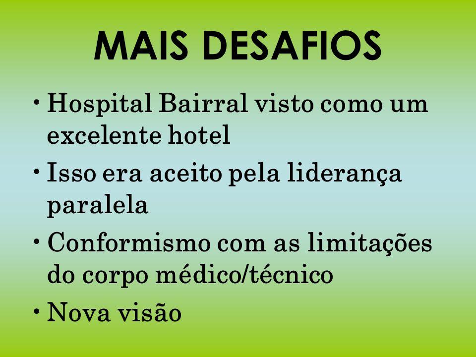 MAIS DESAFIOS Hospital Bairral visto como um excelente hotel Isso era aceito pela liderança paralela Conformismo com as limitações do corpo médico/téc