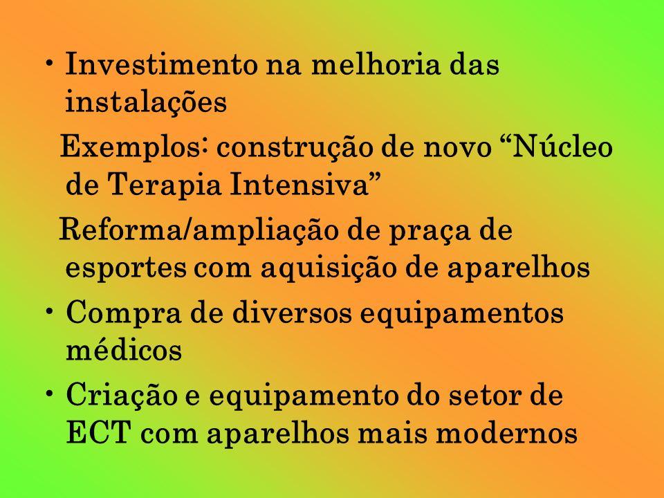Investimento na melhoria das instalações Exemplos: construção de novo Núcleo de Terapia Intensiva Reforma/ampliação de praça de esportes com aquisição