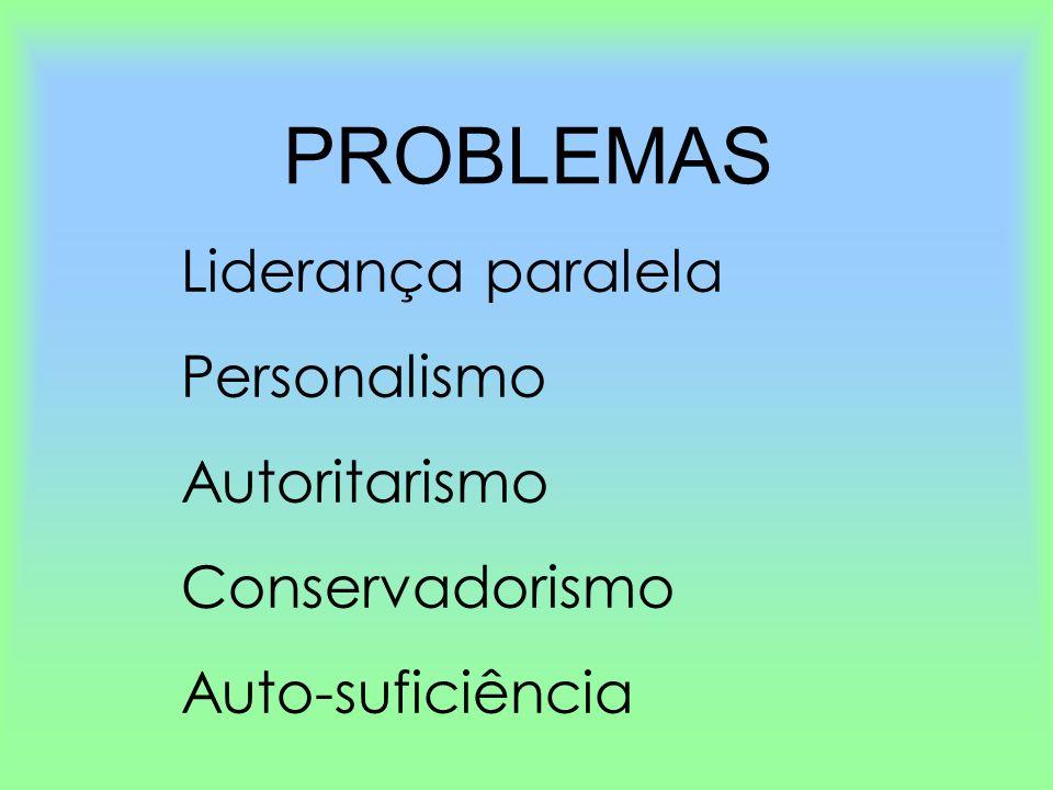 PROBLEMAS Liderança paralela Personalismo Autoritarismo Conservadorismo Auto-suficiência