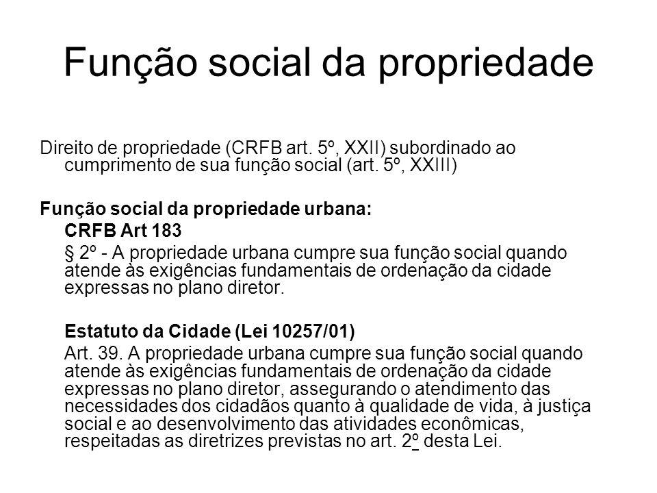 Função social da propriedade Direito de propriedade (CRFB art. 5º, XXII) subordinado ao cumprimento de sua função social (art. 5º, XXIII) Função socia