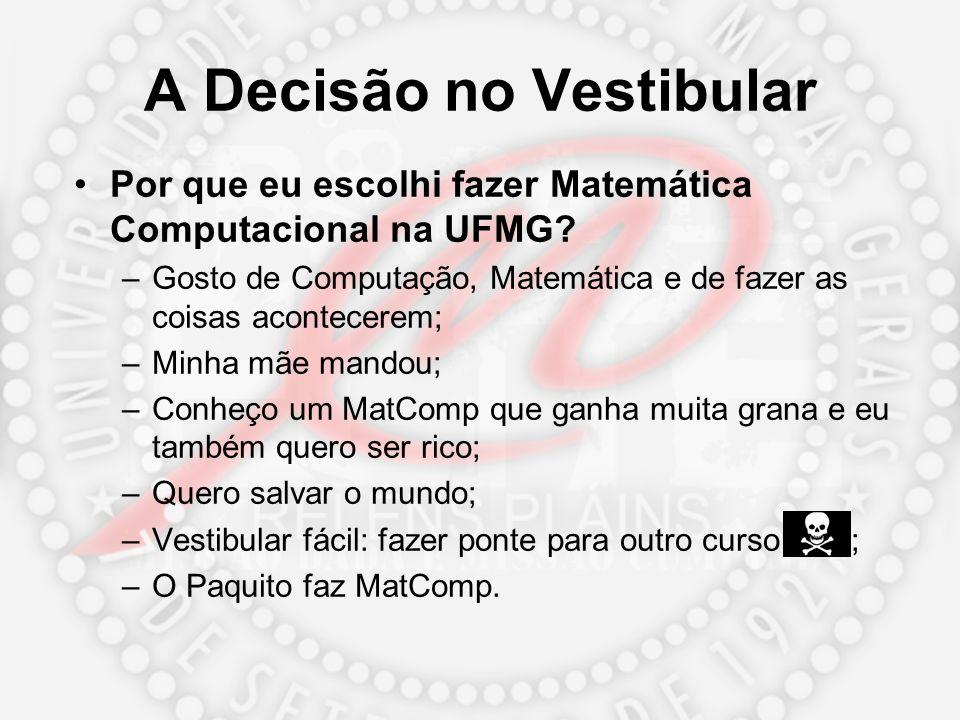 A Decisão no Vestibular Por que eu escolhi fazer Matemática Computacional na UFMG? –Gosto de Computação, Matemática e de fazer as coisas acontecerem;