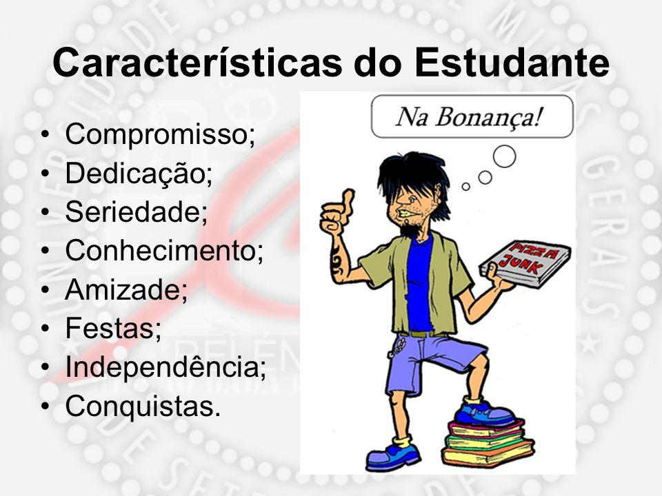 Características do Estudante Compromisso; Dedicação; Seriedade; Conhecimento; Amizade; Festas; Independência; Conquistas.