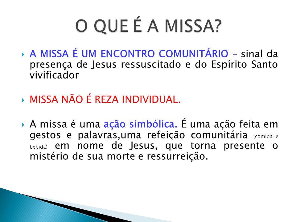 A MISSA É UM ENCONTRO COMUNITÁRIO – sinal da presença de Jesus ressuscitado e do Espírito Santo vivificador MISSA NÃO É REZA INDIVIDUAL. A missa é uma