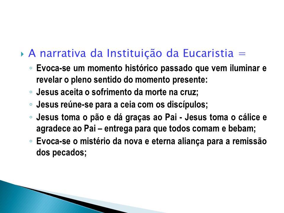 A narrativa da Instituição da Eucaristia = Evoca-se um momento histórico passado que vem iluminar e revelar o pleno sentido do momento presente: Jesus