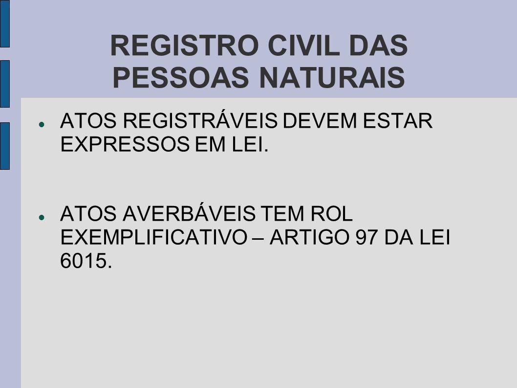 REGISTRO CIVIL DAS PESSOAS NATURAIS ATOS REGISTRÁVEIS DEVEM ESTAR EXPRESSOS EM LEI. ATOS AVERBÁVEIS TEM ROL EXEMPLIFICATIVO – ARTIGO 97 DA LEI 6015.