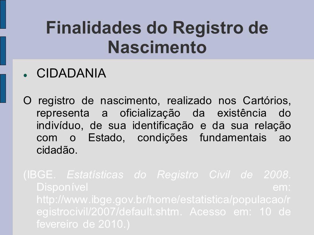 Finalidades do Registro de Nascimento CIDADANIA O registro de nascimento, realizado nos Cartórios, representa a oficialização da existência do indivíd