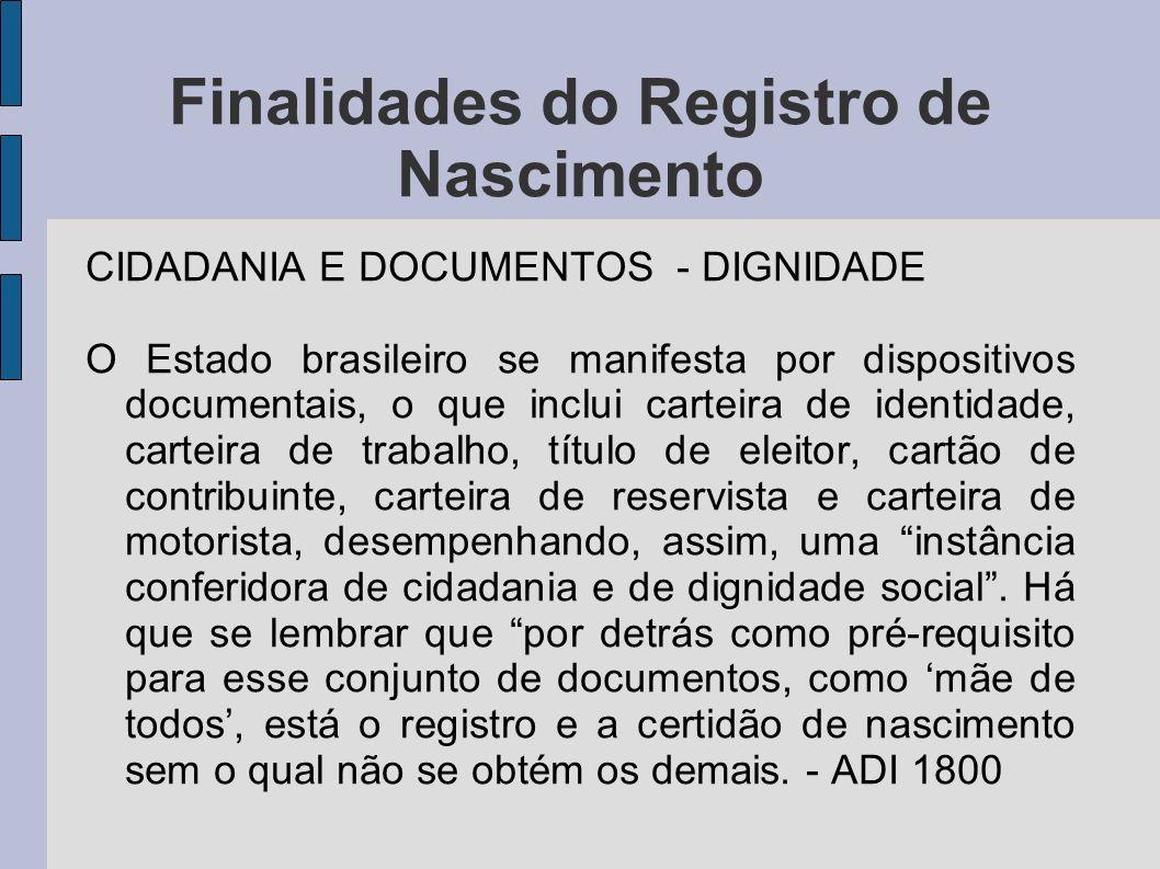 Finalidades do Registro de Nascimento CIDADANIA E DOCUMENTOS - DIGNIDADE O Estado brasileiro se manifesta por dispositivos documentais, o que inclui c