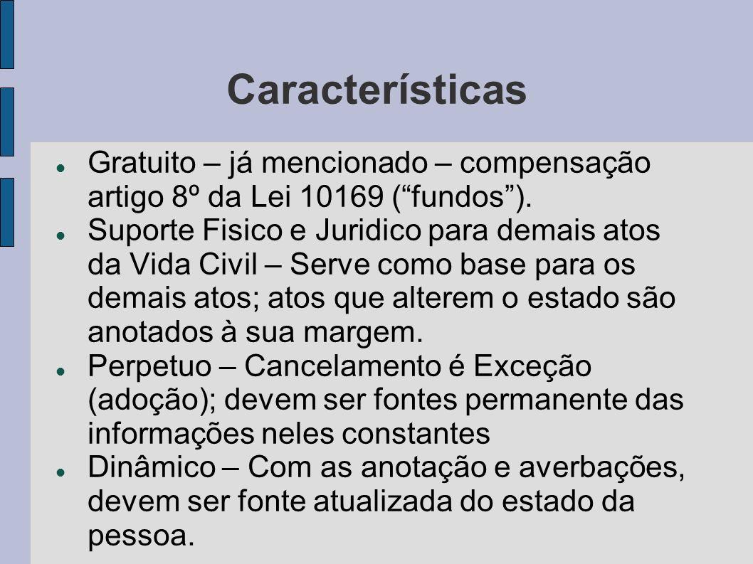 Características Gratuito – já mencionado – compensação artigo 8º da Lei 10169 (fundos). Suporte Fisico e Juridico para demais atos da Vida Civil – Ser