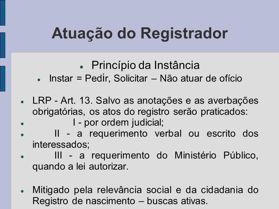 Atuação do Registrador Princípio da Instância Instar = Ped i r, Solicitar – Não atuar de ofício LRP - Art. 13. Salvo as anotações e as averbações obri