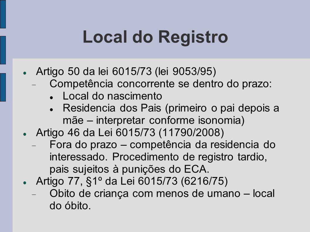 Local do Registro Artigo 50 da lei 6015/73 (lei 9053/95) Competência concorrente se dentro do prazo: Local do nascimento Residencia dos Pais (primeiro
