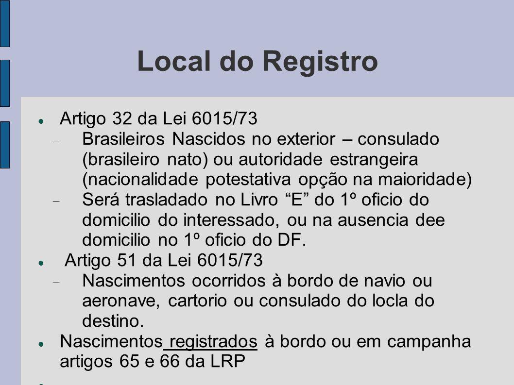 Local do Registro Artigo 32 da Lei 6015/73 Brasileiros Nascidos no exterior – consulado (brasileiro nato) ou autoridade estrangeira (nacionalidade pot
