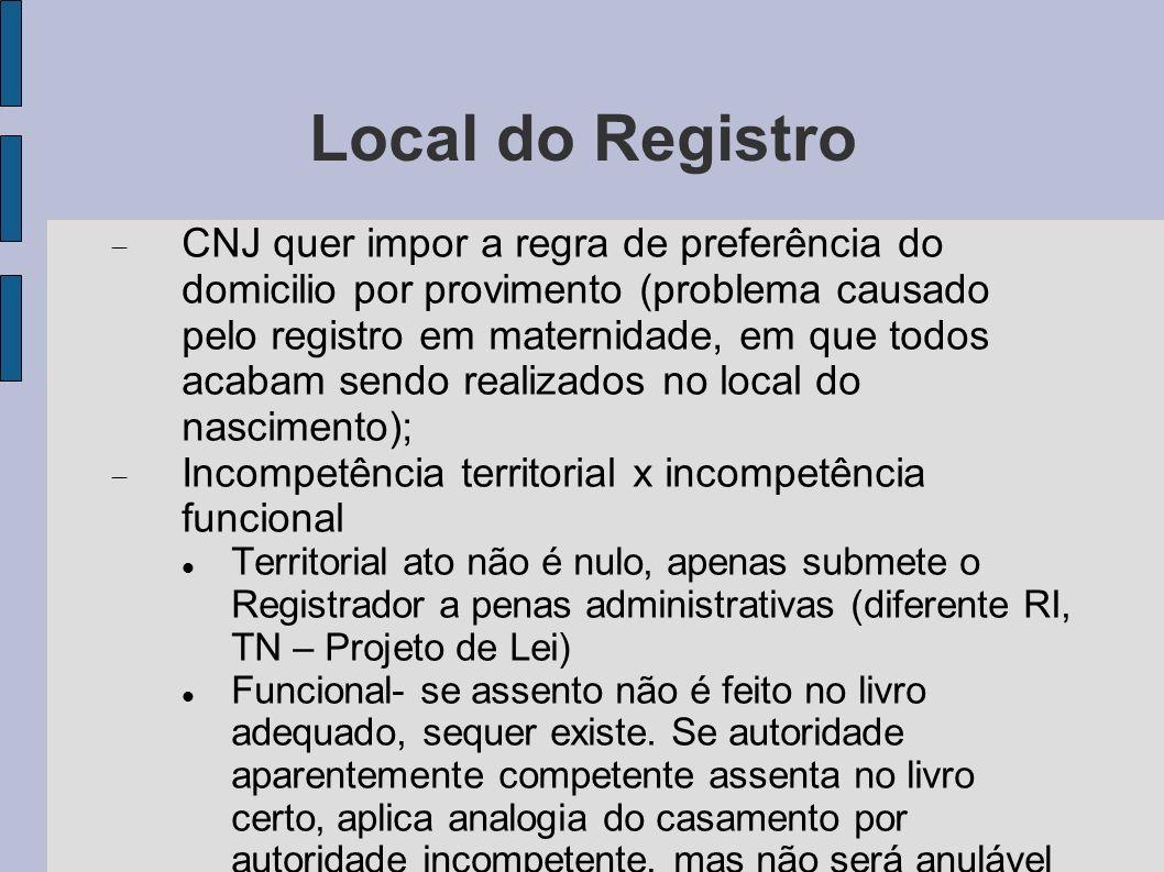 Local do Registro CNJ quer impor a regra de preferência do domicilio por provimento (problema causado pelo registro em maternidade, em que todos acaba