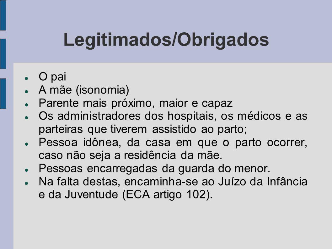 Legitimados/Obrigados O pai A mãe (isonomia) Parente mais próximo, maior e capaz Os administradores dos hospitais, os médicos e as parteiras que tiver