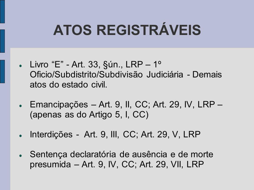 ATOS REGISTRÁVEIS Livro E - Art. 33, §ún., LRP – 1º Oficio/Subdistrito/Subdivisão Judiciária - Demais atos do estado civil. Emancipações – Art. 9, II,