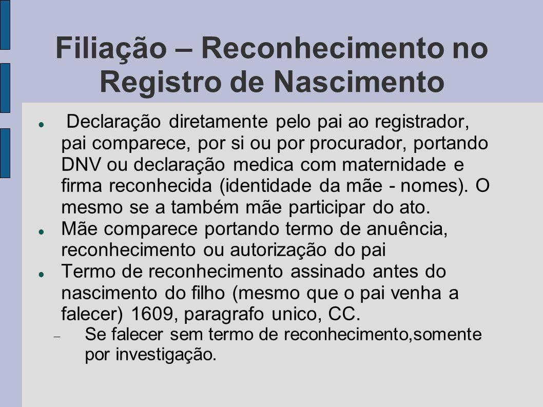 Filiação – Reconhecimento no Registro de Nascimento Declaração diretamente pelo pai ao registrador, pai comparece, por si ou por procurador, portando