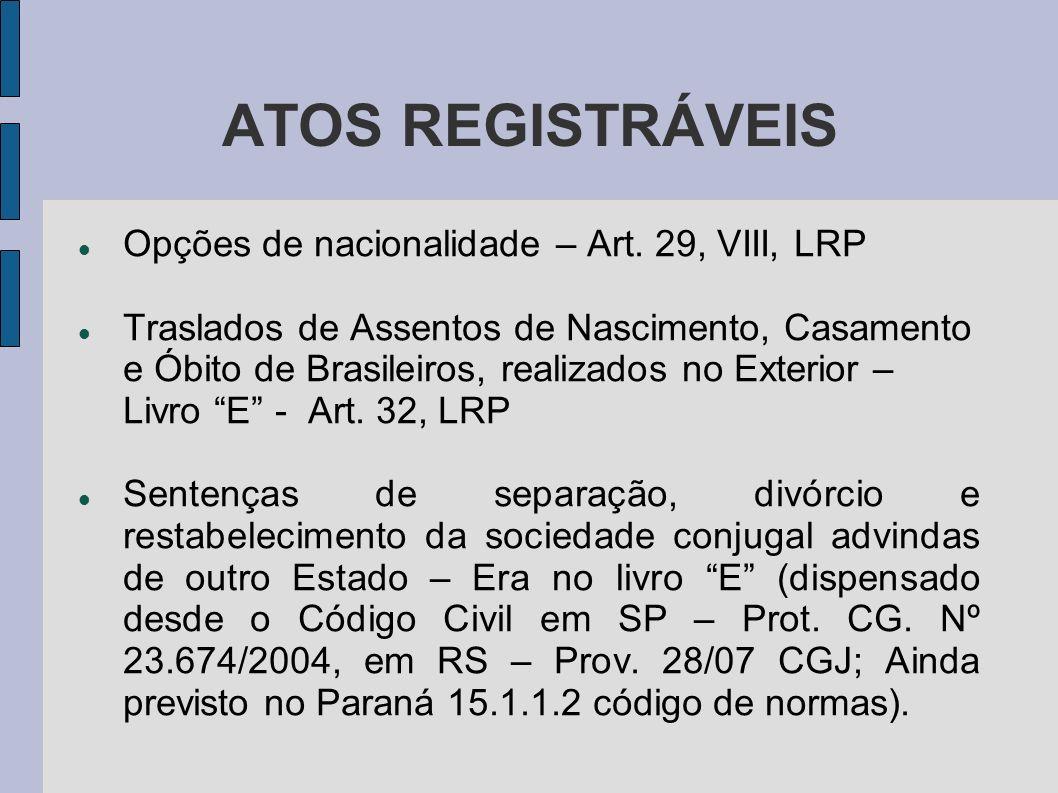 ATOS REGISTRÁVEIS Opções de nacionalidade – Art. 29, VIII, LRP Traslados de Assentos de Nascimento, Casamento e Óbito de Brasileiros, realizados no Ex