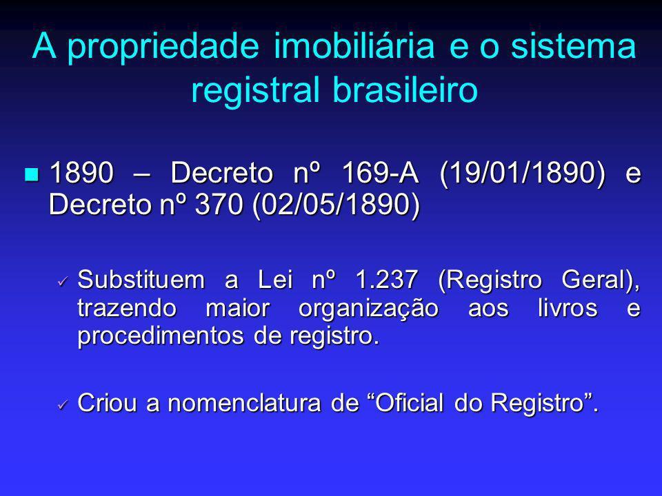 A propriedade imobiliária e o sistema registral brasileiro 1890 – Decreto nº 169-A (19/01/1890) e Decreto nº 370 (02/05/1890) 1890 – Decreto nº 169-A
