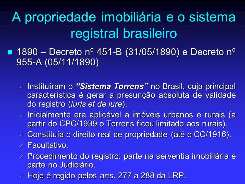 A propriedade imobiliária e o sistema registral brasileiro 1890 – Decreto nº 451-B (31/05/1890) e Decreto nº 955-A (05/11/1890) 1890 – Decreto nº 451-